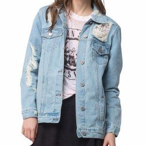 Boom Boom Jeans Oversized Destructed Denim Jacket
